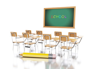 3d School chairs, chalkboard and pencil.