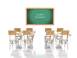 3d School chairs and chalkboard with Learn Spanish.