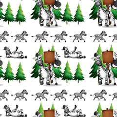 Seamless background  with zebra and pinetree