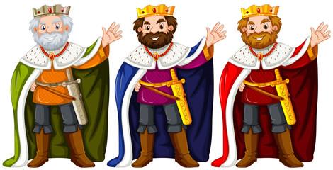Three kings wearing crown and robe