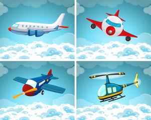 Four scenes of airplane flying in the sky