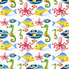 Seamless sea animals and bubbles