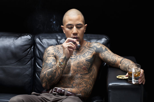 african american gangsta smoking and drinking.