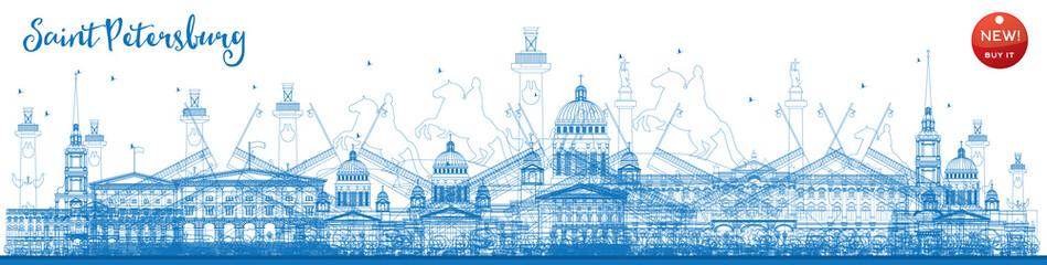 Outline Saint Petersburg skyline with blue landmarks.
