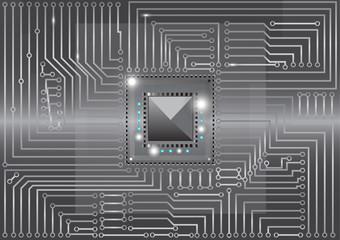 Metallic electronic circuits board vector illustration