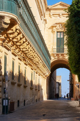 The long wooden balconies on the Grandmaster's Palace, Valletta,