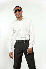 Happy Black Male on White