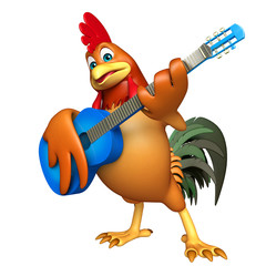 fun Chicken cartoon character  with guitar