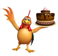 fun Chicken cartoon character with cake