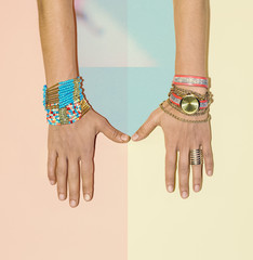 Stylish accessories. Watches and bracelets. Summer Fashion Trend