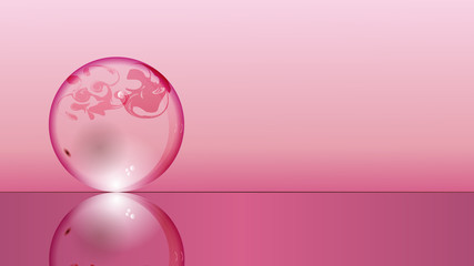 Glass transparent ball on pink background and mirror surface. Texture