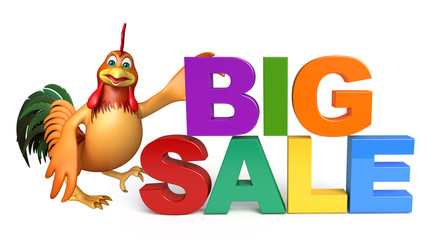 cute Chicken cartoon character with big sale sign