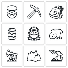 Vector Set of Geology Icons. Geologist, Instrument, Journey, Research, Nutrition, Gold, Oil, Landscape, Gas.