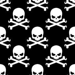 Icono plano patrón con craneo con tibias sobre fondo negro