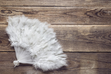 White feathers fan on old wooden boards. Place for text.