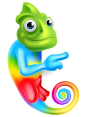 Cartoon Rainbow Chameleon Pointing