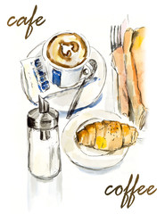 Sketch from coffee house. Watercolor hand drawn illustration.