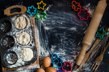 Baking concept on dark background