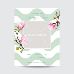 Baby Arrival Card with Photo Frame - Blossom Magnolia Flowers Theme