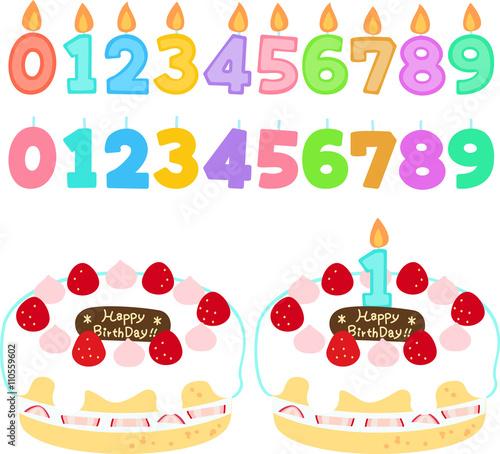 数字型のロウソクとバースデーケーキのイラストセット Stock Image And