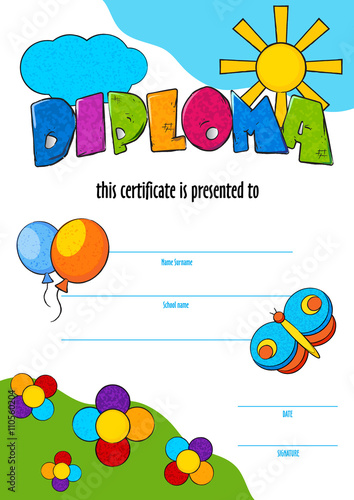 Template vector of child diploma or certificate to be awarded template vector of child diploma or certificate to be awarded kindergarten preschool kids diploma design yelopaper Images