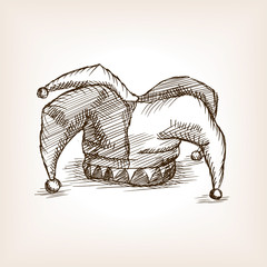 Jester hat sketch style vector illustration