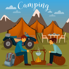 Summer Camp. Man and Woman sitting by Fireplace. Camping and ATV