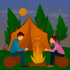 Summer Camp. Man and Woman sitting by Fireplace. Bonfire with Marshmallows
