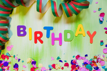 colorful letters and confetti, birthday