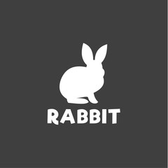 Silhouette of a rabbit sitting under logo, pet modern design flat-style qualitative icons drawing initial submissions