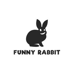 Smiling funny rabbit silhouette logo design single-color monochrome flat style icon vector illustrations