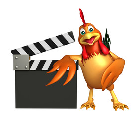 Chicken cartoon character with clapper board