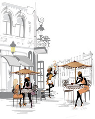 Fashion people in the street cafe.