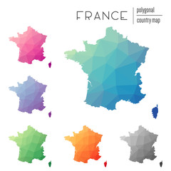 Set of vector polygonal France maps. Bright gradient map of country in low poly style. Multicolored France map in geometric style for your infographics.