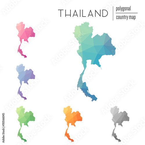Set of vector polygonal Thailand maps. Bright gradient map of ...