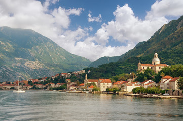 Montenegro, Bay of Kotor. View of Prcanj town and Birth of Our Lady church.