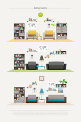 set of contemporary lounge rooms with furniture isolated on white background. vector, flat style relaxing interior. elegant living room illustration. lifestyle concept, luxury apartment decoration