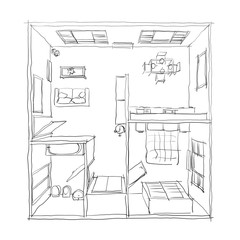 3d freehand drawing illustration of furnished apartment: room, bathroom, bedroom, kitchen, living-room, hall, entrance, door, window, balcony