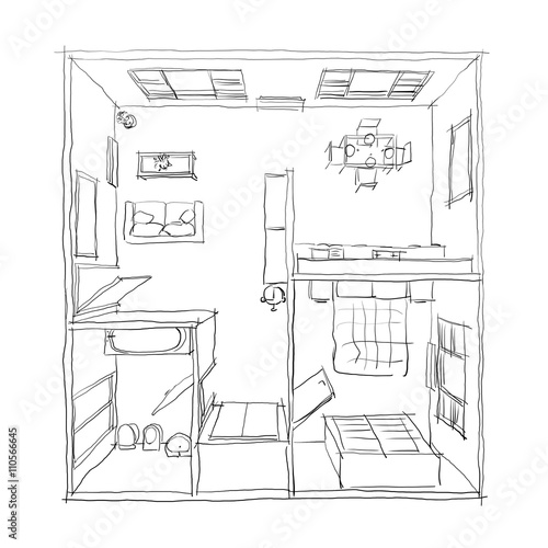 3d Freehand Drawing Illustration Of Furnished Apartment Room Bathroom Bedroom Kitchen