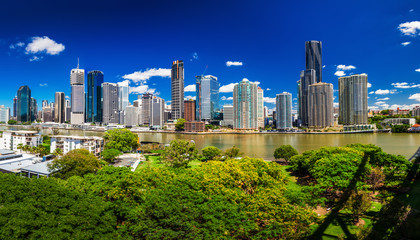 BRISBANE, AUS - NOV 18 2015: Panoramic view of Brisbane Skyline