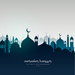 ramadan kareem greeting card with mosques