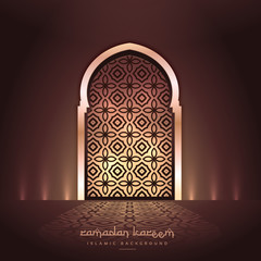 beautiful mosque door with lights and pattern design