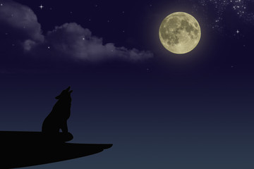 Wolf howling at the full moon at night with clouds and starry sky