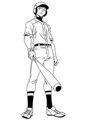 baseball player smiling,illustration,logo,ink,black and white,outline,isolated on a white