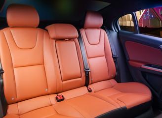 Car interior orange leather
