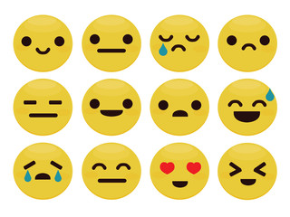 Set of emoticons, emoji isolated on white background, vector illustration.