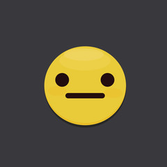 Illustration of a Poker-faced Smiley. Straight Face