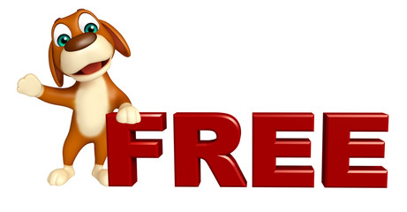 fun Dog cartoon character  with free sign