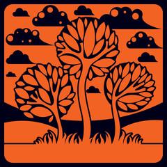 Artistic stylized natural landscape, imaginative tree illustration