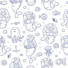 Seamless  pattern with cute cartoon mermaids octopus, jellyfish, fish and seashells  on blue  background. Underwater life. Children's illustration. Vector image.